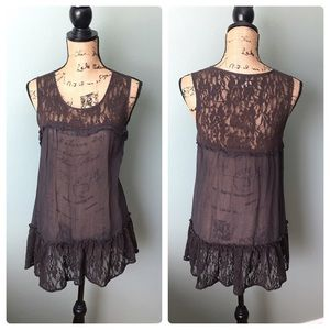 Anthropologie Pins and Needles small brown top!